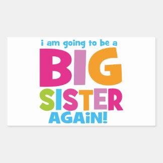 Hermana grande otra vez pegatina rectangular