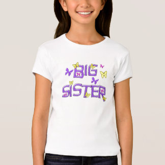 Hermana grande, púrpura, amarillo, mariposas playera