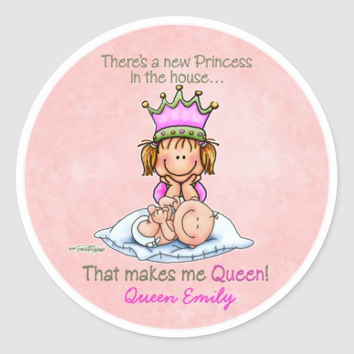 Hermana grande - reina de la princesa pegatina redonda