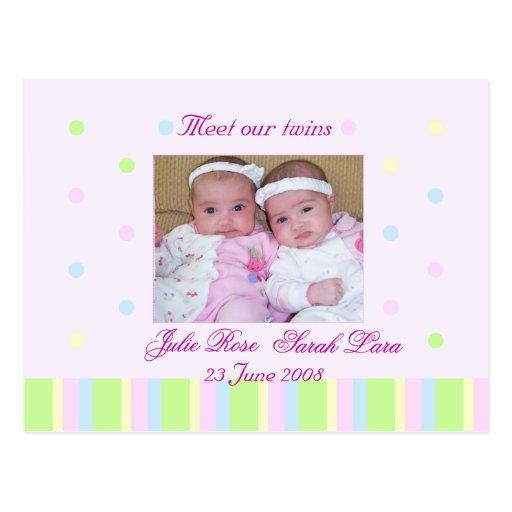 Hermana la tarjeta de la invitación del nacimiento postal