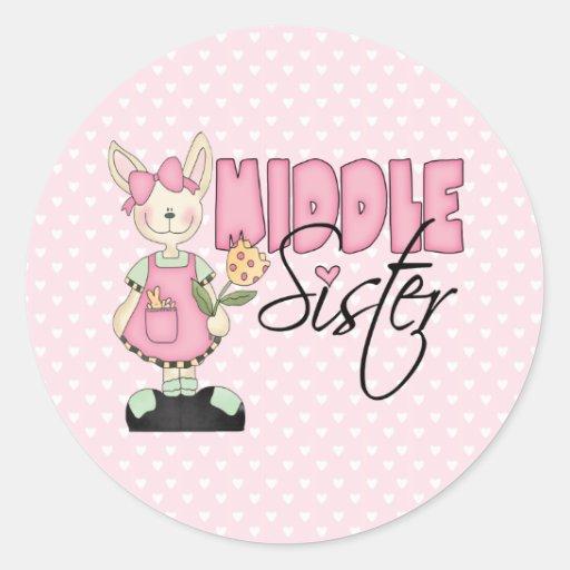 Hermana media del conejito del país (rosa) pegatina redonda