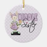 Hermana media del conejito del país (violeta) ornamento de reyes magos