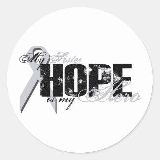Hermana mi héroe - esperanza del pulmón etiquetas redondas