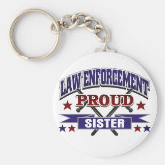 Hermana orgullosa de la aplicación de ley llavero redondo tipo pin