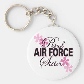 Hermana orgullosa de la fuerza aérea llavero redondo tipo pin