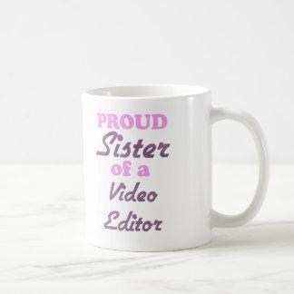 Hermana orgullosa de un editor de vídeo tazas de café