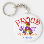 Hermana orgullosa de un hermano con autismo llavero personalizado
