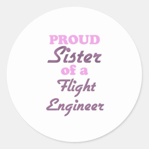 Hermana orgullosa de un ingeniero de vuelo etiquetas redondas