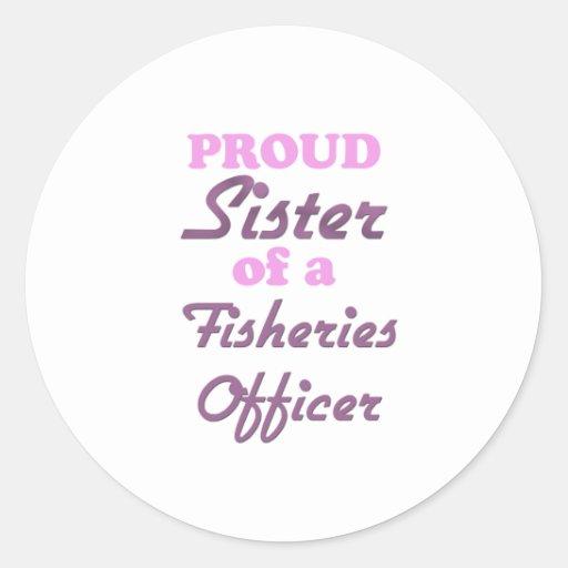 Hermana orgullosa de un oficial de las industrias pegatina redonda