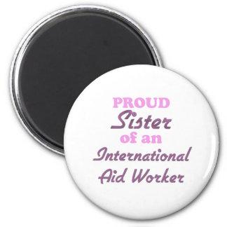 Hermana orgullosa de un trabajador de ayuda intern imán para frigorifico