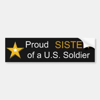 Hermana orgullosa de una familia de los militares pegatina para auto