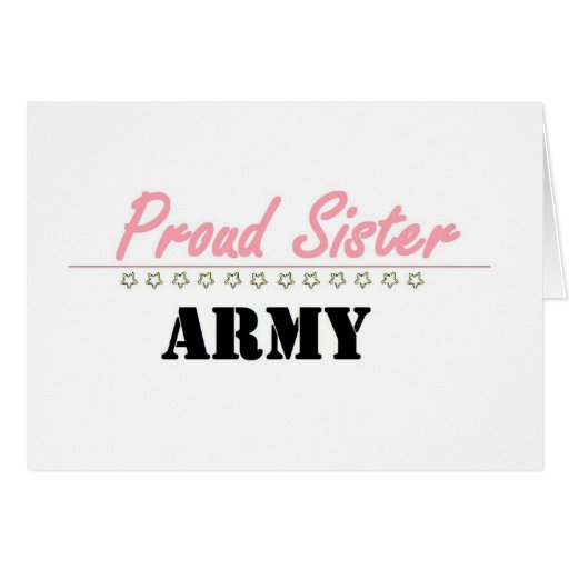 hermana orgullosa del ejército (1) tarjeta de felicitación
