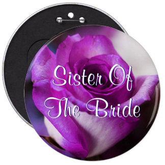 Hermana púrpura de la novia subió pin redondo de 6 pulgadas