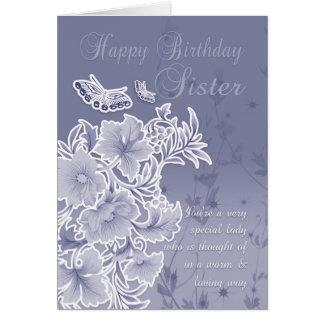 Hermana, tarjeta de cumpleaños con las flores y ma