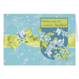 Hermana, tarjeta de felicitación del cumpleaños co