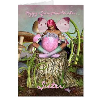 Hermana - tarjeta de pascua de hadas de la primave