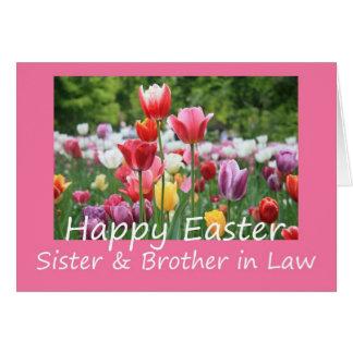 Hermana + Tarjeta feliz del tulipán de Pascua del