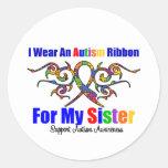 Hermana tribal de la cinta del autismo pegatina redonda