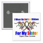 Hermana tribal de la cinta del autismo pin