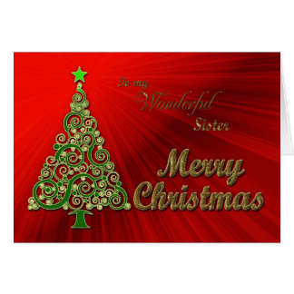 Hermana, un oro y tarjeta de Navidad roja del