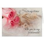 Hermana, una invitación de la dama de honor con felicitaciones