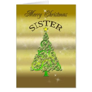 Hermana, una tarjeta de Navidad del efecto del oro