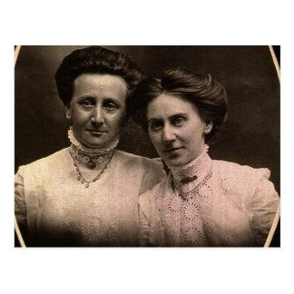 Hermanas, Cora y Addie ZARFOS, circa 1900 Tarjetas Postales