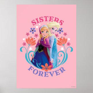Hermanas de Ana y de Elsa el | con las flores Póster