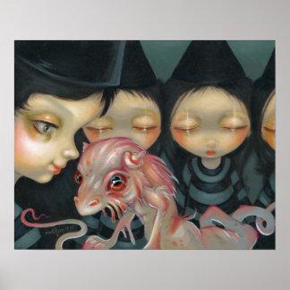 Hermanas de Witchy el dragón de Halloween de la IM Posters
