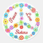Hermanas del amor de la paz pegatina redonda