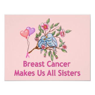 """Hermanas del cáncer de pecho invitación 4.25"""" x 5.5"""""""