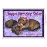 Hermanas del dachshund del cumpleaños dos de la he felicitaciones