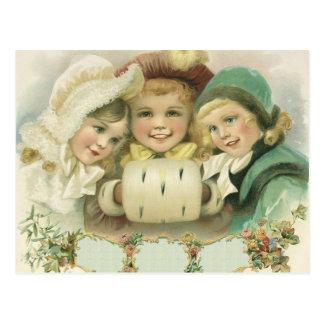 Hermanas del navidad del vintage, niños del postal