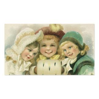 Hermanas del navidad del vintage, niños del tarjetas de visita