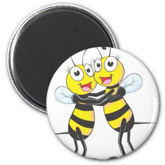 Hermanas felices de la abeja imán redondo 5 cm