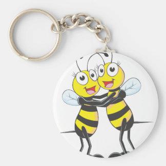 Hermanas felices de la abeja llavero redondo tipo pin