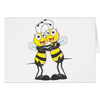Hermanas felices de la abeja tarjeta de felicitación