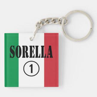 Hermanas italianas: Uno de Sorella Numero Llavero Cuadrado Acrílico A Doble Cara