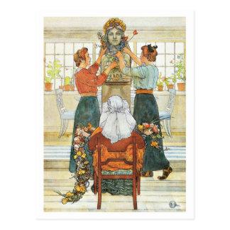 Hermanas que adornan para el día de fiesta tarjetas postales