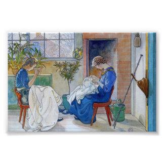 Hermanas que cosen por la chimenea fotografías