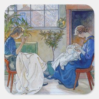 Hermanas que cosen por la chimenea pegatina cuadrada