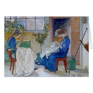 Hermanas que cosen por la chimenea tarjeta de felicitación