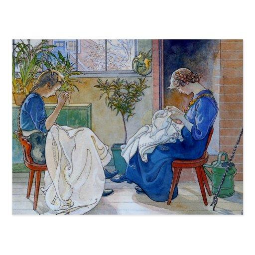 Hermanas que cosen por la chimenea tarjetas postales
