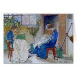 Hermanas que cosen por la chimenea tarjetas
