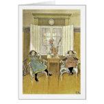 Hermanas que se sientan en sillas felicitación