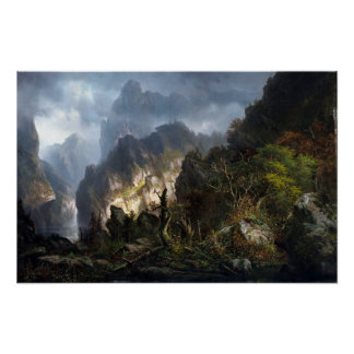 Hermann Herzog Storm in the Mountains Poster