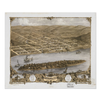 Hermann Missouri 1869 Antique Panoramic Map Poster