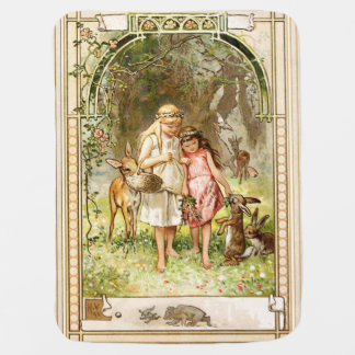 Hermann Vogel: Snow White and Rose Red Baby Blanket