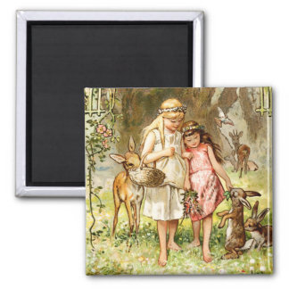 Hermann Vogel - Snow White and Rose Red Refrigerator Magnets