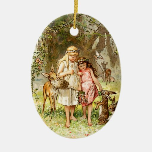 Hermann Vogel - Snow White and Rose Red Christmas Tree Ornaments